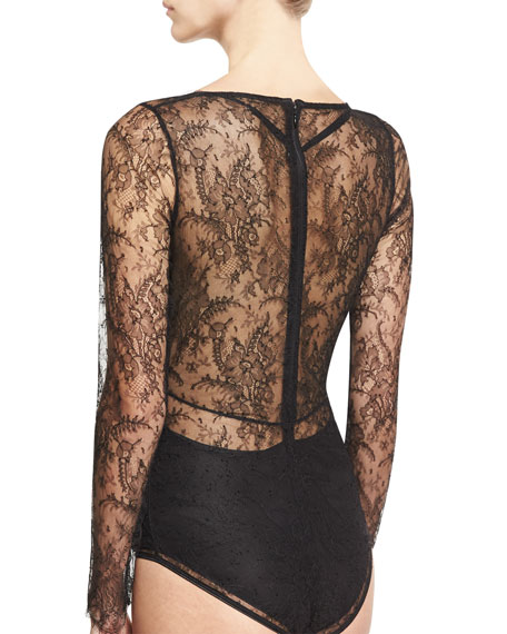 Chimere Long-Sleeve Lace Bodysuit, Black