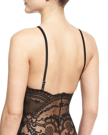 Juliette Thong-Back Bodysuit, Black
