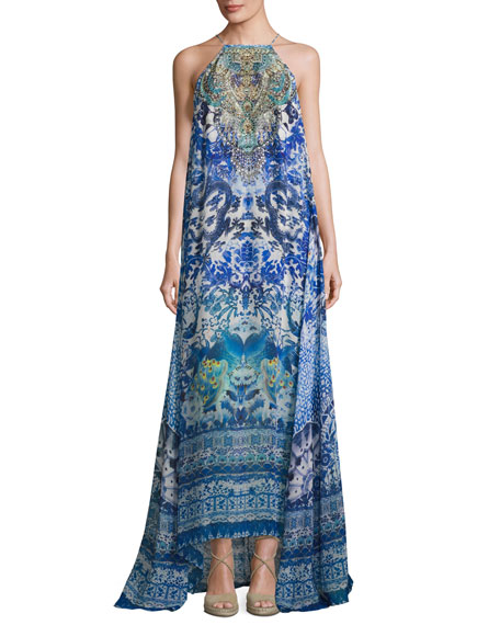 Camilla High-Neck Embellished Silk Maxi Dress, Guardian of