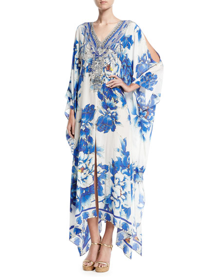 Camilla Split-Detail Embellished Silk Caftan Coverup, Ring of