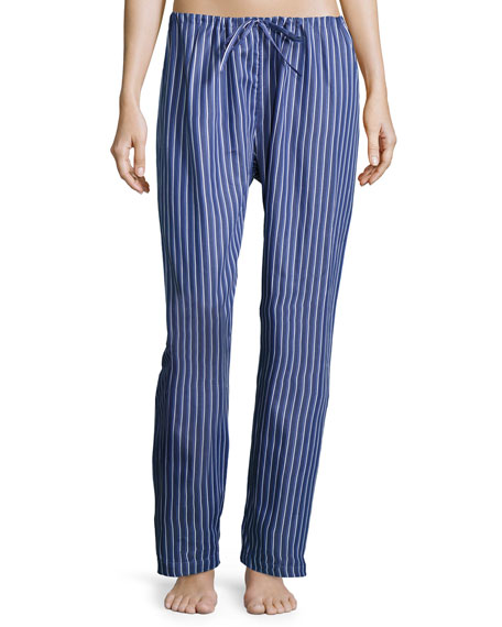 P Jamas Downtown Poplin Pajama Pants, Blue Pattern