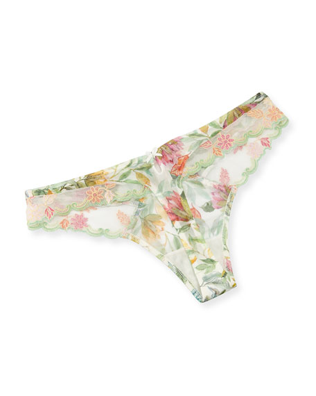 Bouquet Tropical Embroidered Thong, Multi Pattern