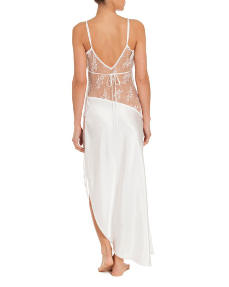 Summer Lace-Inset Satin Nightgown, Ivory