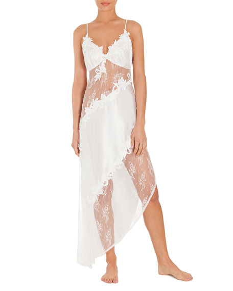 Jonquil Summer Lace-Inset Satin Nightgown, Ivory