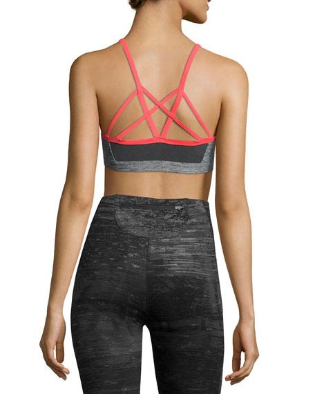 Motivation Strappy Sports Bra, Gray/Red