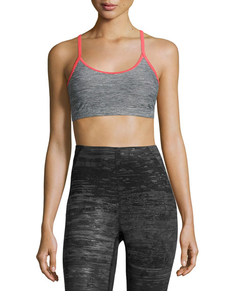 Motivation Strappy Sports Bra, Gray/Red