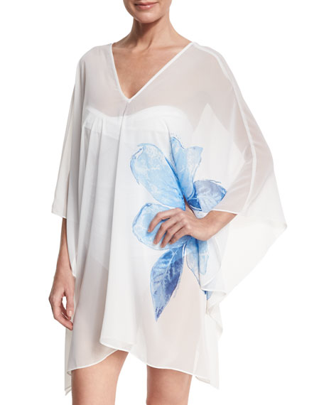 Carmen Marc Valvo Sheer Swim-Coverup Caftan, White
