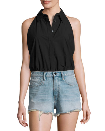 Sleeveless Washed Poplin Bodysuit, Black
