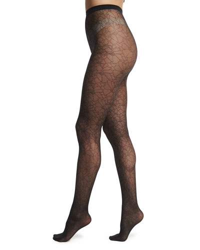 Melina Sheer Patterned Tights, Black
