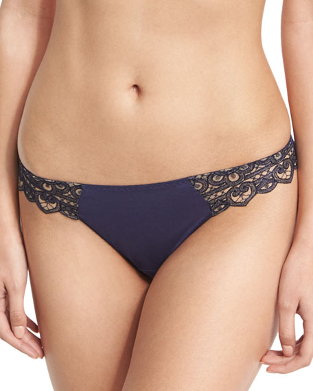 Talisman Lace Tanga Briefs, Dark Blue