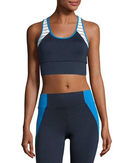 Heroine Sport Tread Athletic Sports Bra, Blue-White
