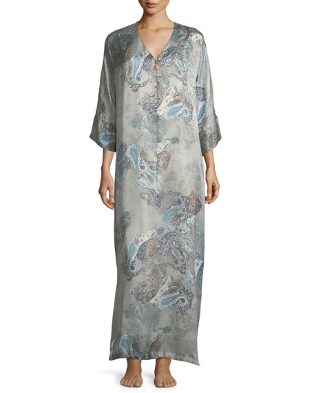Christine Designs Printed Zip-Front Lounge Caftan