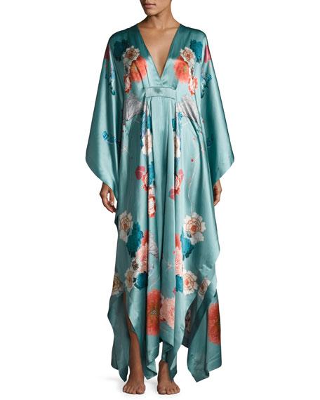 Meng V-Neck Floral-Print Silk Caftan, Light Green