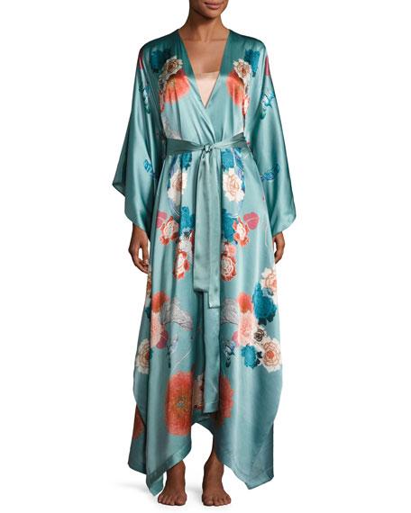 Meng V-Neck Floral-Print Long Satin Wrap Robe, Light