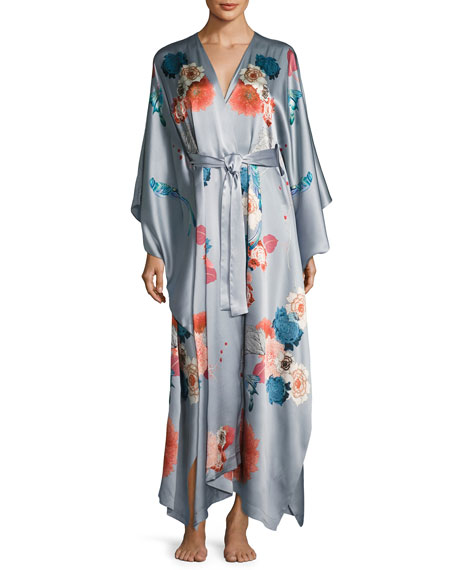 Meng V-Neck Floral-Print Long Satin Wrap Robe, Silver