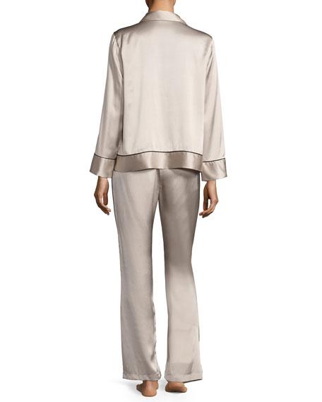 Silk Spread-Color Pajama Set, Beige