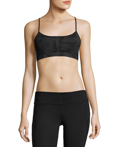 Alicia Strappy-Back Low/Mid-Impact Sports Bra, Black
