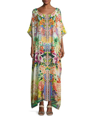 Embellished Kaftan Coverup Dress, Multicolor