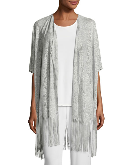 Caroline Rose Fringe Benefit Crochet Caftan Cardigan and