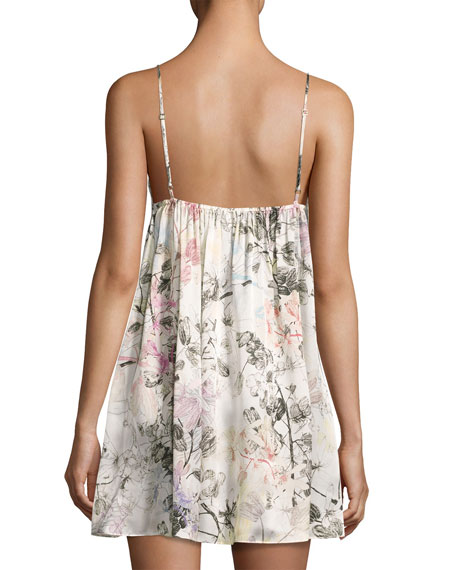 Juliet Floral-Print Silk Chemise, Multi Pattern