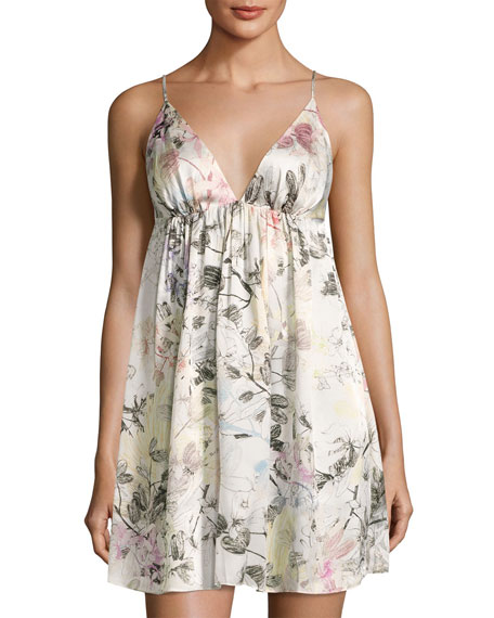 Christine Designs Juliet Floral-Print Silk Chemise, Multi Pattern