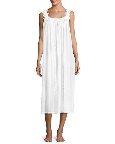 Celestine Margitta Long Cotton Nightgown, White