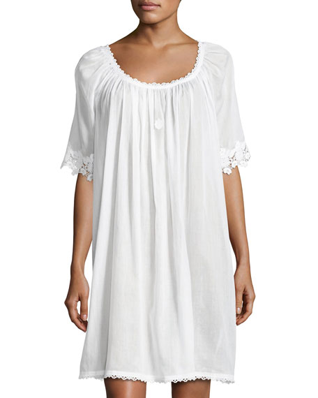 Celestine Margitta 3/4-Sleeve Babydoll Nightgown, White