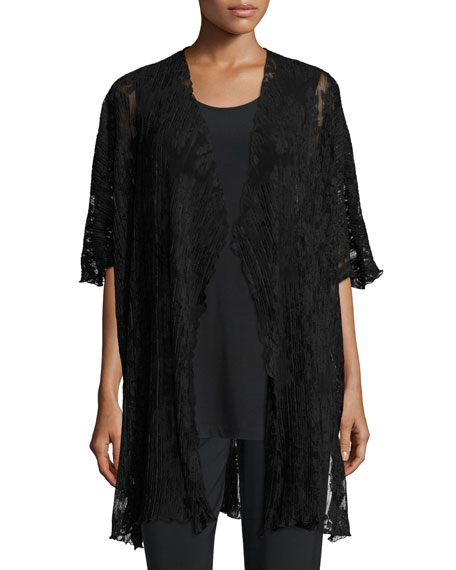 Caroline Rose Pleated Lace Caftan, Black, Plus Size
