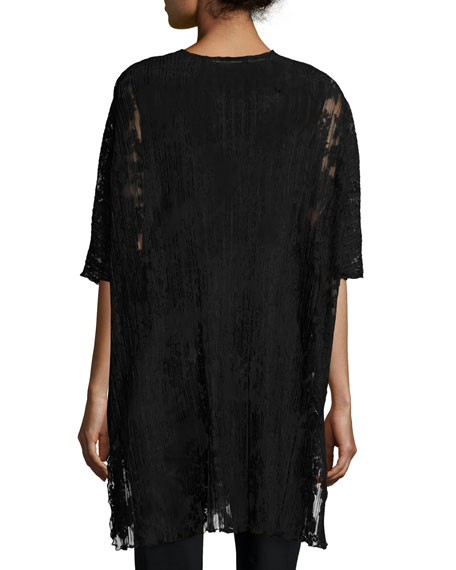 Pleated Lace Caftan, Black
