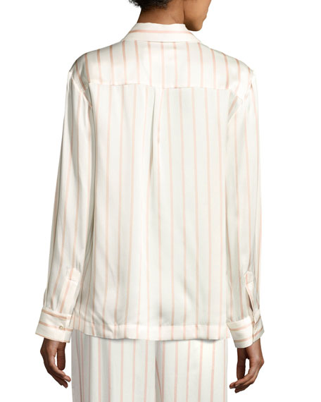 Striped Button-Front Silk Pajama Top, Pink Pattern