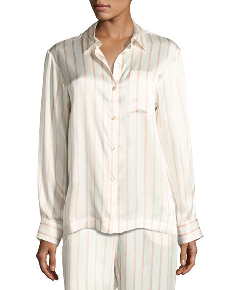 Asceno Striped Button-Front Silk Pajama Top, Pink Pattern