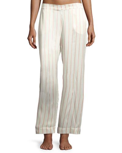 Striped Silk-Satin Pajama Pants  Pink Pattern