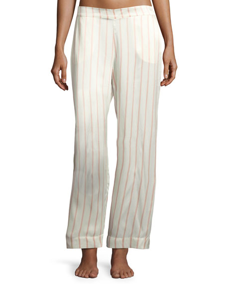 Striped Silk-Satin Pajama Pants, Pink Pattern