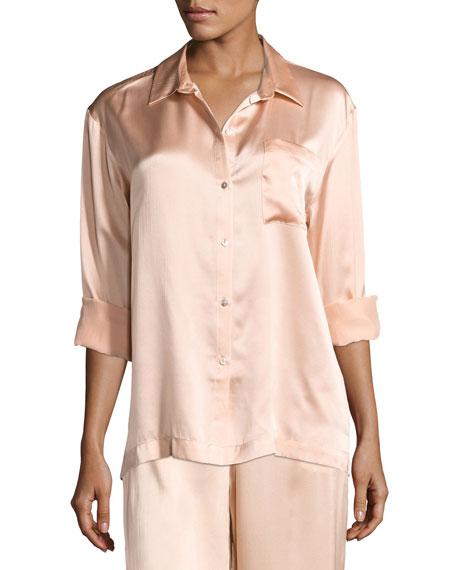 Silk-Satin Pajama Top, Light Pink