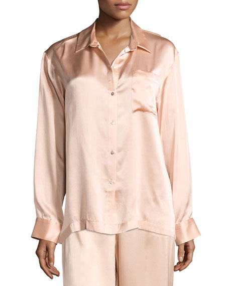 Asceno Silk-Satin Pajama Top, Light Pink