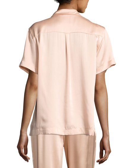 Short-Sleeve Silk-Satin Pajama Top, Light Pink