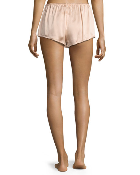 Silk-Satin Pajama Shorts, Light Pink