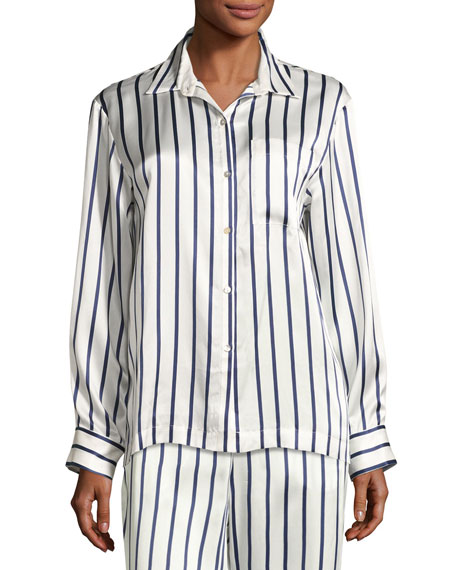 Asceno Striped Silk-Satin Pajama Top, Blue Pattern