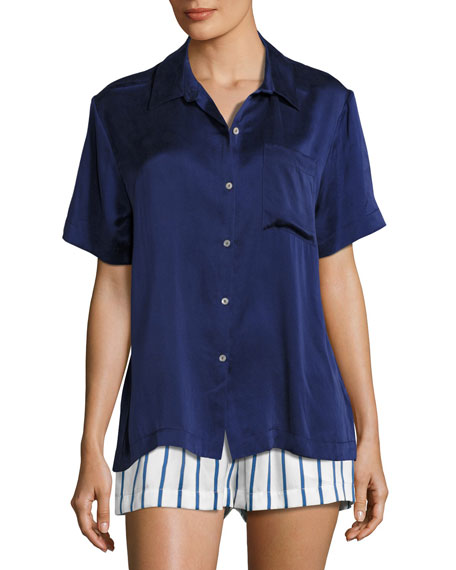 Asceno Silk-Satin Pajama Top, Navy