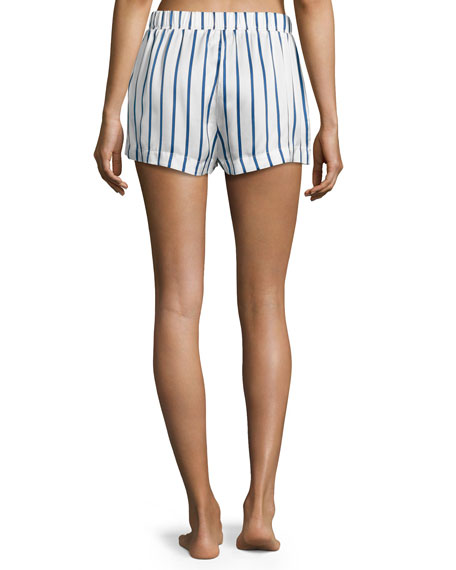 Striped Satin Pajama Shorts, Blue Pattern