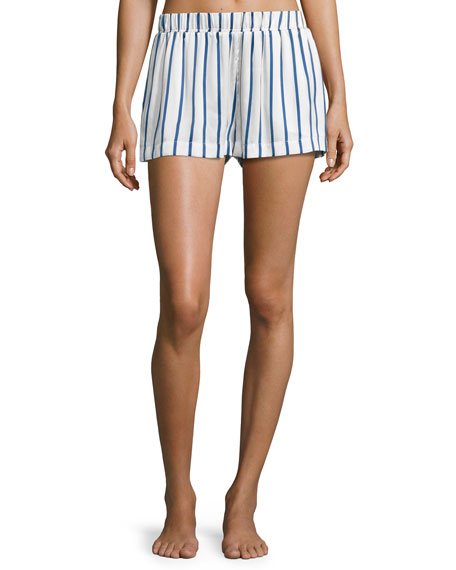 Asceno Striped Satin Pajama Shorts, Blue Pattern