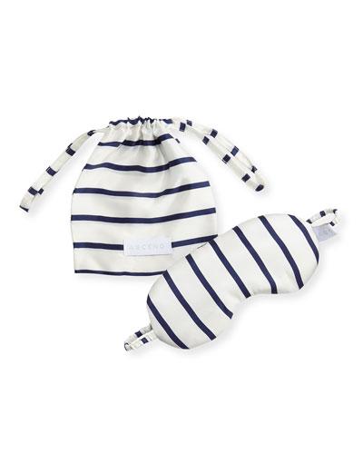 Striped Silk Eye Mask, Blue Pattern