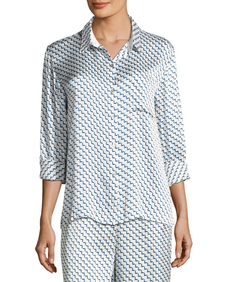 Arrow-Print Silk-Satin Pajama Top, Blue Pattern