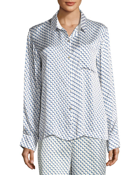 Asceno Arrow-Print Silk-Satin Pajama Top, Blue Pattern and