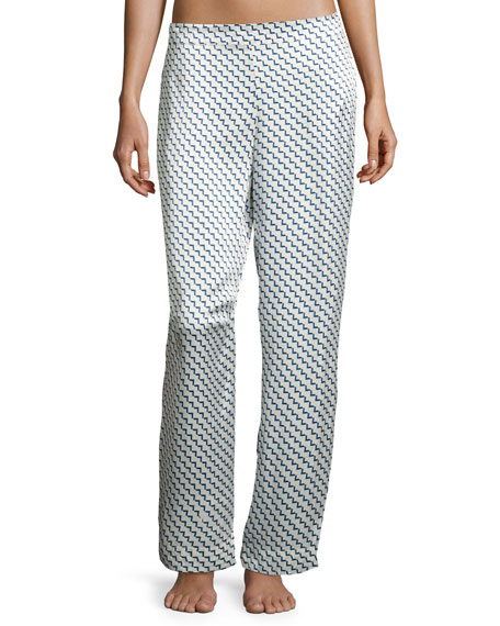 Arrow-Print Silk-Satin Pajama Pants, Blue Pattern