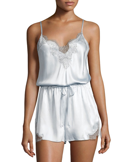 Midsummer Lace-Trim Lounge Romper, Blue