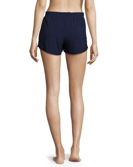 Lace-Inset Lounge Shorts, Navy