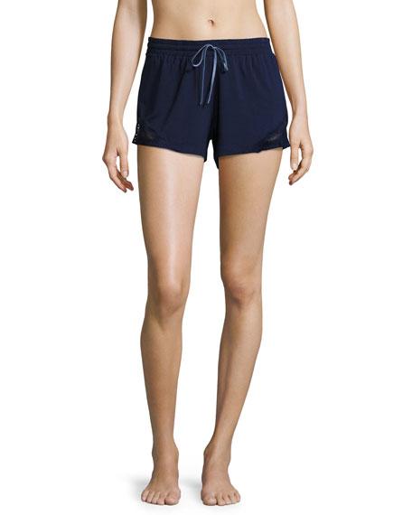 Fleur't Lace-Inset Lounge Shorts, Navy