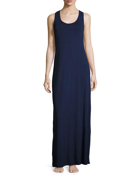 Fleur't Lace-Back Jersey Maxi Lounge Dress, Navy