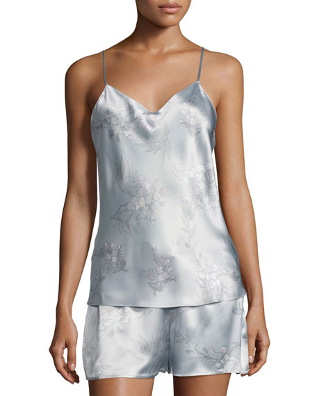 Wisteria Camisole Silk Pajama Set, Blue Pattern